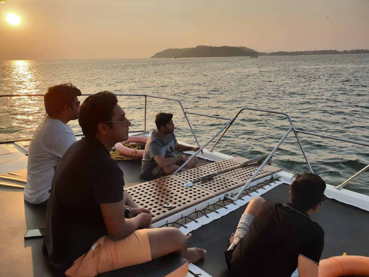 chilling with friends on catamaran