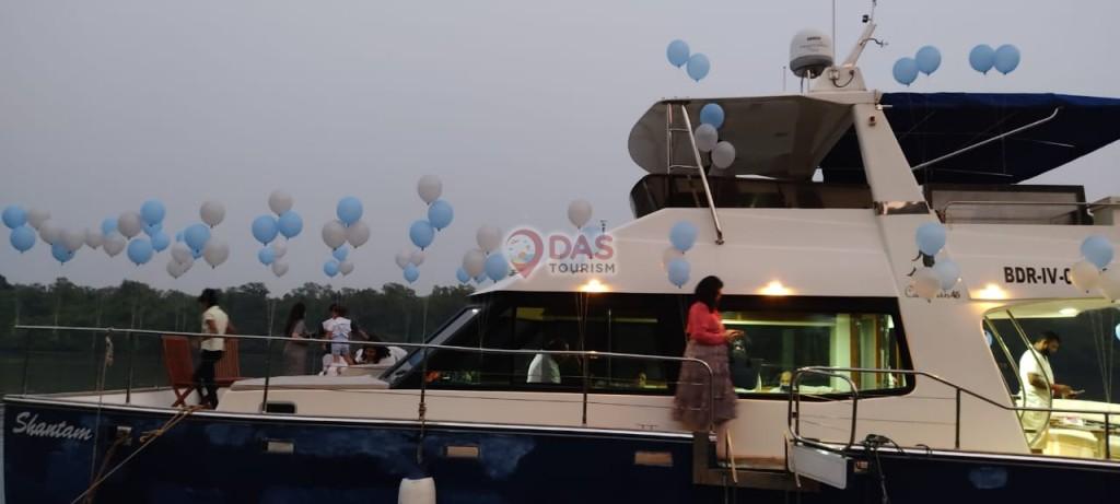 Balloon Decoration on Blue White Catamaran