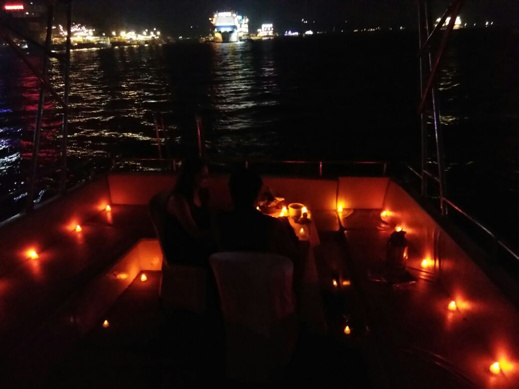 Candle light dinner on yacht